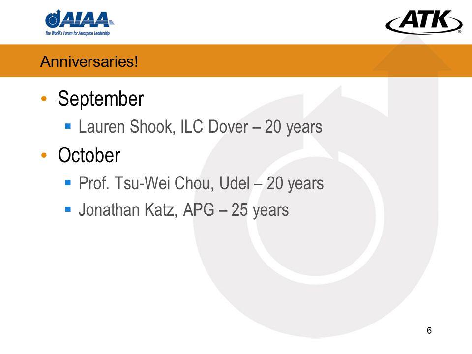 Anniversaries! September  Lauren Shook, ILC Dover – 20 years October  Prof. Tsu-Wei Chou, Udel – 20 years  Jonathan Katz, APG – 25 years 6