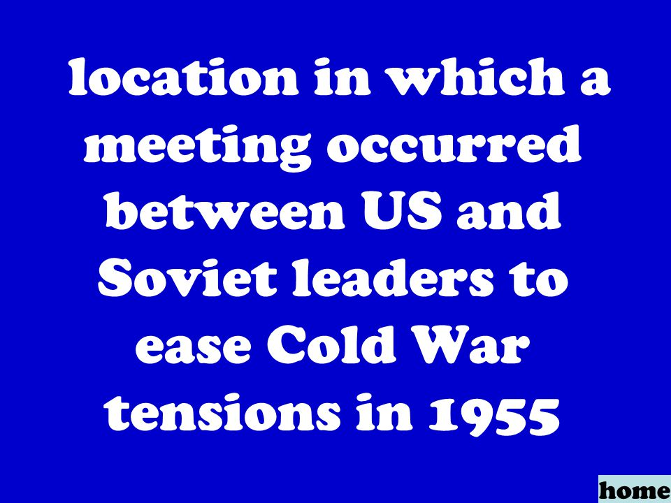 location in which a meeting occurred between US and Soviet leaders to ease Cold War tensions in 1955 home