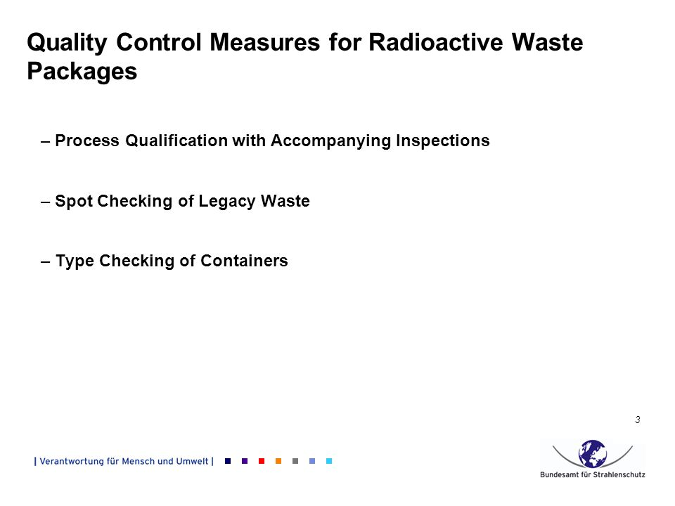 3 –Process Qualification with Accompanying Inspections –Spot Checking of Legacy Waste –Type Checking of Containers Quality Control Measures for Radioactive Waste Packages
