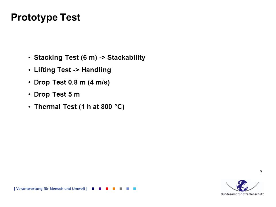 9 Prototype Test Stacking Test (6 m) -> Stackability Lifting Test -> Handling Drop Test 0.8 m (4 m/s) Drop Test 5 m Thermal Test (1 h at 800 °C)
