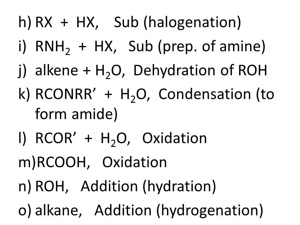 h)RX + HX, Sub (halogenation) i)RNH 2 + HX, Sub (prep.