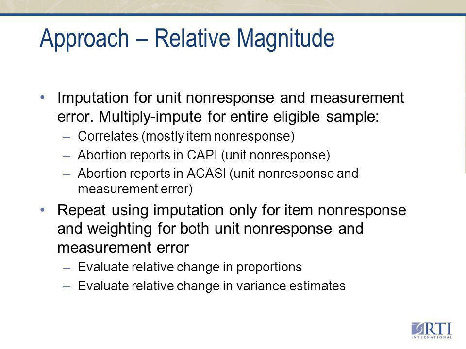 Approach – Relative Magnitude Imputation for unit nonresponse and measurement error.