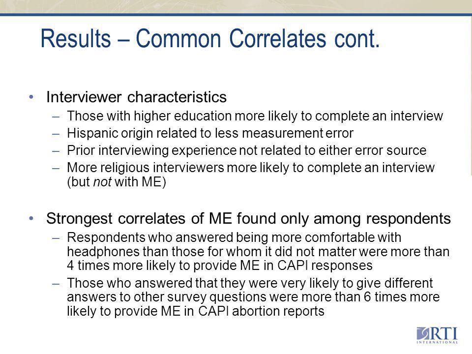 Results – Common Correlates cont.