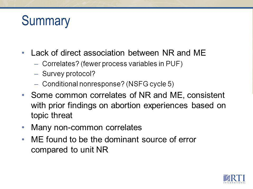 Summary Lack of direct association between NR and ME –Correlates.