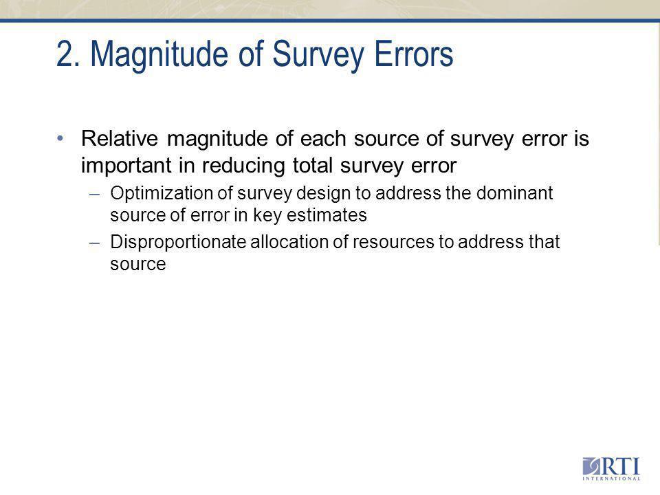 2. Magnitude of Survey Errors Relative magnitude of each source of survey error is important in reducing total survey error –Optimization of survey de