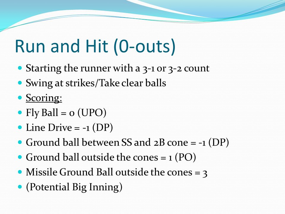 Run and Hit (0-outs) Starting the runner with a 3-1 or 3-2 count Swing at strikes/Take clear balls Scoring: Fly Ball = 0 (UPO) Line Drive = -1 (DP) Ground ball between SS and 2B cone = -1 (DP) Ground ball outside the cones = 1 (PO) Missile Ground Ball outside the cones = 3 (Potential Big Inning)