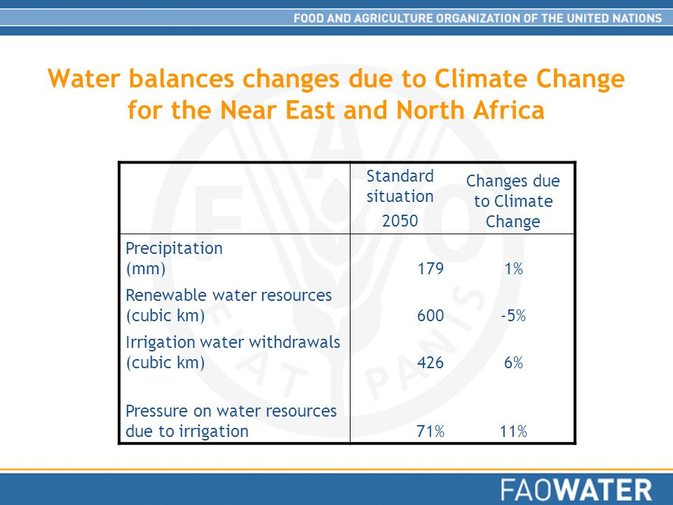 Water balances changes due to Climate Change for the Near East and North Africa Standard situation 2050 Changes due to Climate Change Precipitation (mm)1791% Renewable water resources (cubic km)600-5% Irrigation water withdrawals (cubic km)4266% Pressure on water resources due to irrigation71%11%