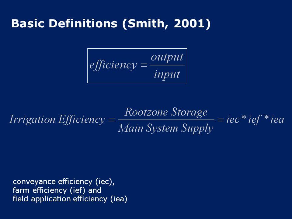 Basic Definitions (Smith, 2001) conveyance efficiency (iec), farm efficiency (ief) and field application efficiency (iea)