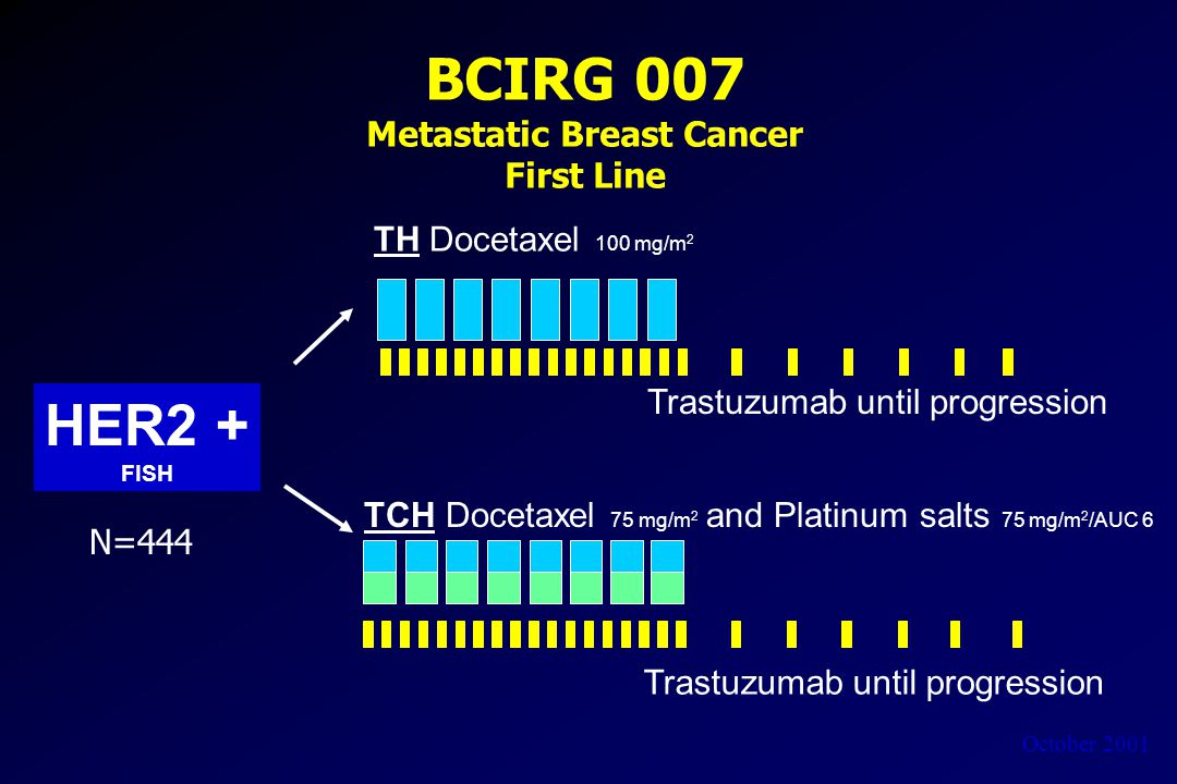 October 2001 BCIRG 007 Metastatic Breast Cancer First Line HER2 + FISH TH Docetaxel 100 mg/m 2 TCH Docetaxel 75 mg/m 2 and Platinum salts 75 mg/m 2 /AUC 6 Trastuzumab until progression N=444 Trastuzumab until progression