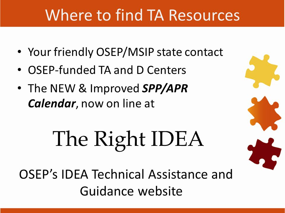 Where to find TA Resources Your friendly OSEP/MSIP state contact OSEP-funded TA and D Centers The NEW & Improved SPP/APR Calendar, now on line at The Right IDEA OSEP's IDEA Technical Assistance and Guidance website