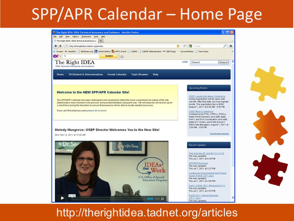 SPP/APR Calendar – Home Page http://therightidea.tadnet.org/articles