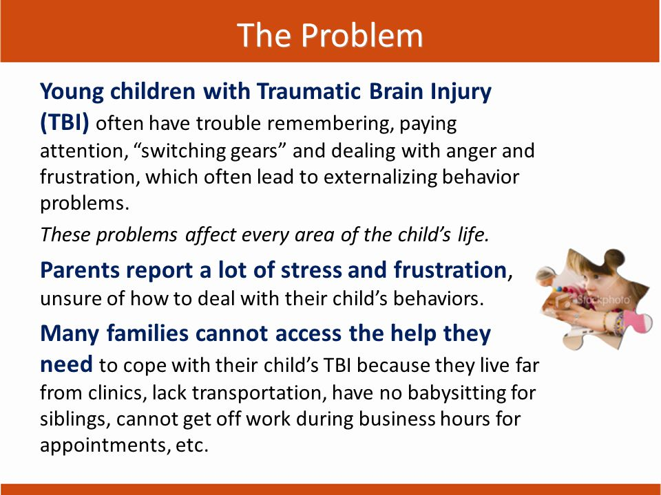 The Need We needed an accessible program for families of young children with TBI to Share what we know about what to expect after TBI Teach parents how to deal with behavior problems related to TBI Support parents & children after TBI