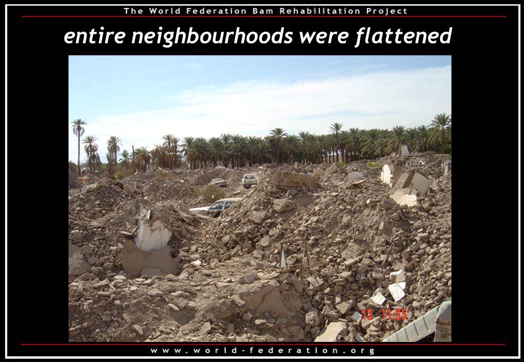 entire neighbourhoods were flattened