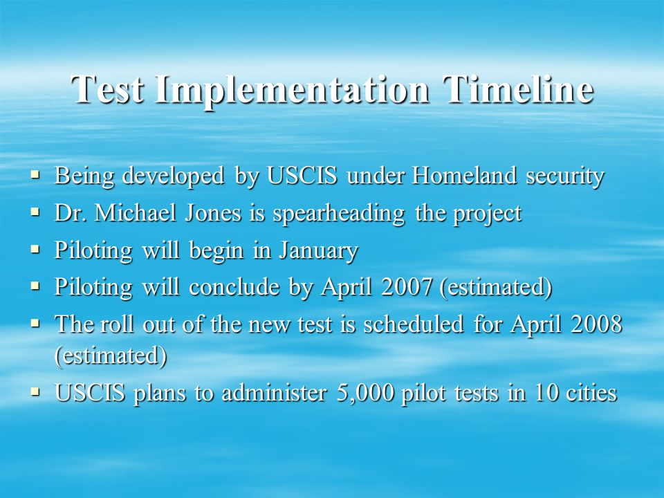 Some things new……. Federal update on citizenship test