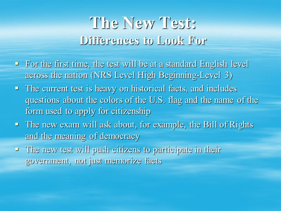 Test Implementation Timeline  Being developed by USCIS under Homeland security  Dr.