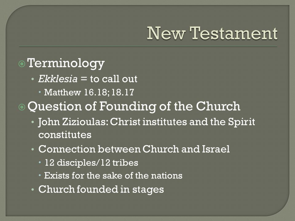  Diversity of Models in New Testament No single norm; fluid situation Originally based on model of synagogue (with elders) Later to single leader (e.g.