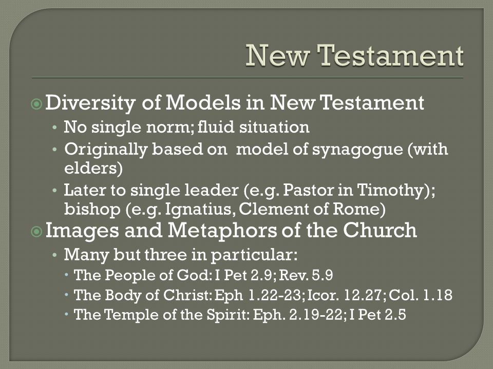  Diversity of Models in New Testament No single norm; fluid situation Originally based on model of synagogue (with elders) Later to single leader (e.g.
