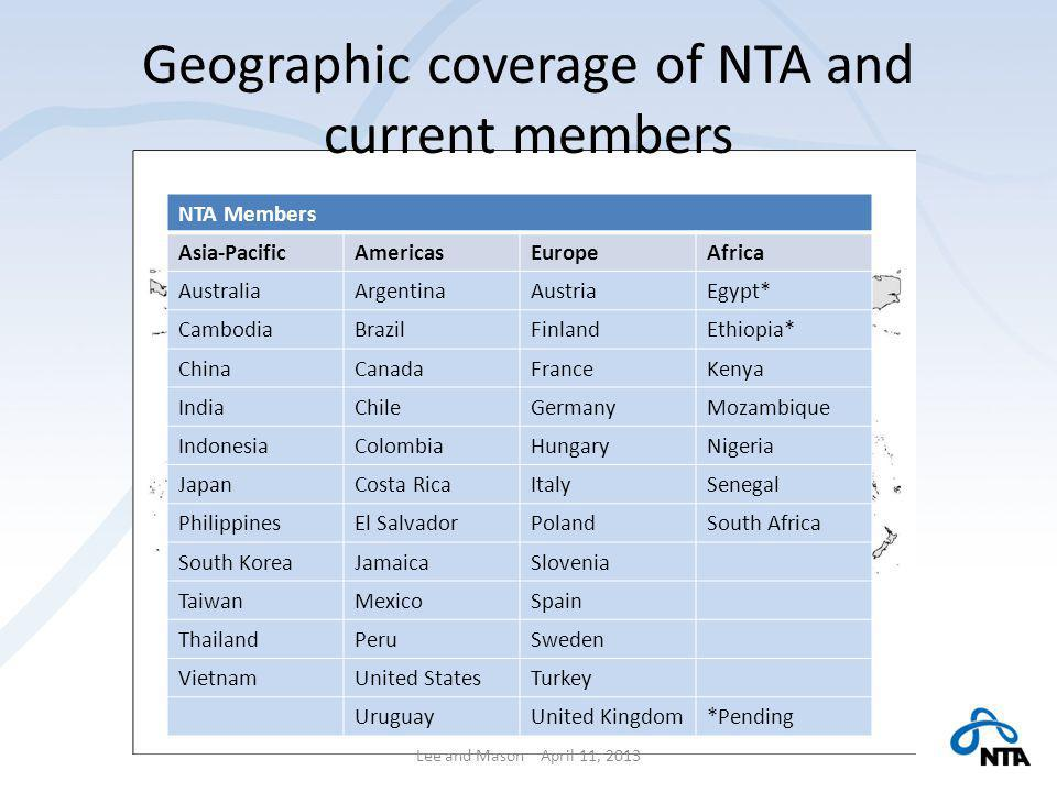 Geographic coverage of NTA and current members Lee and Mason April 11, 2013 NTA Members Asia-PacificAmericasEuropeAfrica AustraliaArgentinaAustriaEgypt* CambodiaBrazilFinlandEthiopia* ChinaCanadaFranceKenya IndiaChileGermanyMozambique IndonesiaColombiaHungaryNigeria JapanCosta RicaItalySenegal PhilippinesEl SalvadorPolandSouth Africa South KoreaJamaicaSlovenia TaiwanMexicoSpain ThailandPeruSweden VietnamUnited StatesTurkey UruguayUnited Kingdom*Pending