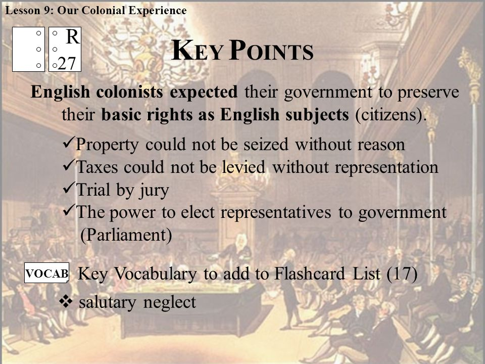 English colonists expected their government to preserve their basic rights as English subjects (citizens).