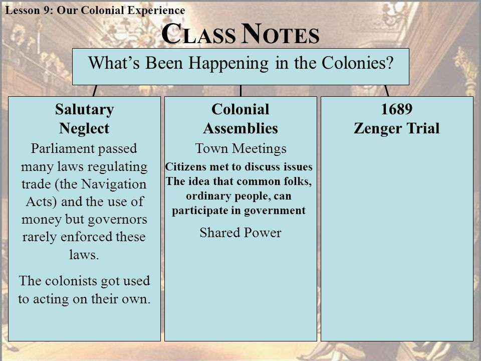 Colonial Assembly Royal Governor Elected by eligible colonists Appointed by the king On the LEFT side of your T-Chart under Shared Power Made laws Had authority to tax Paid governor's salary Had final approval on laws Oversaw colonial trade Could dismiss colonial assembly Lesson 9: Our Colonial Experience L 26