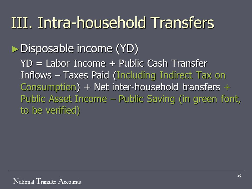 N ational T ransfer A ccounts 20 III. Intra-household Transfers ► Disposable income (YD) YD = Labor Income + Public Cash Transfer Inflows – Taxes Paid