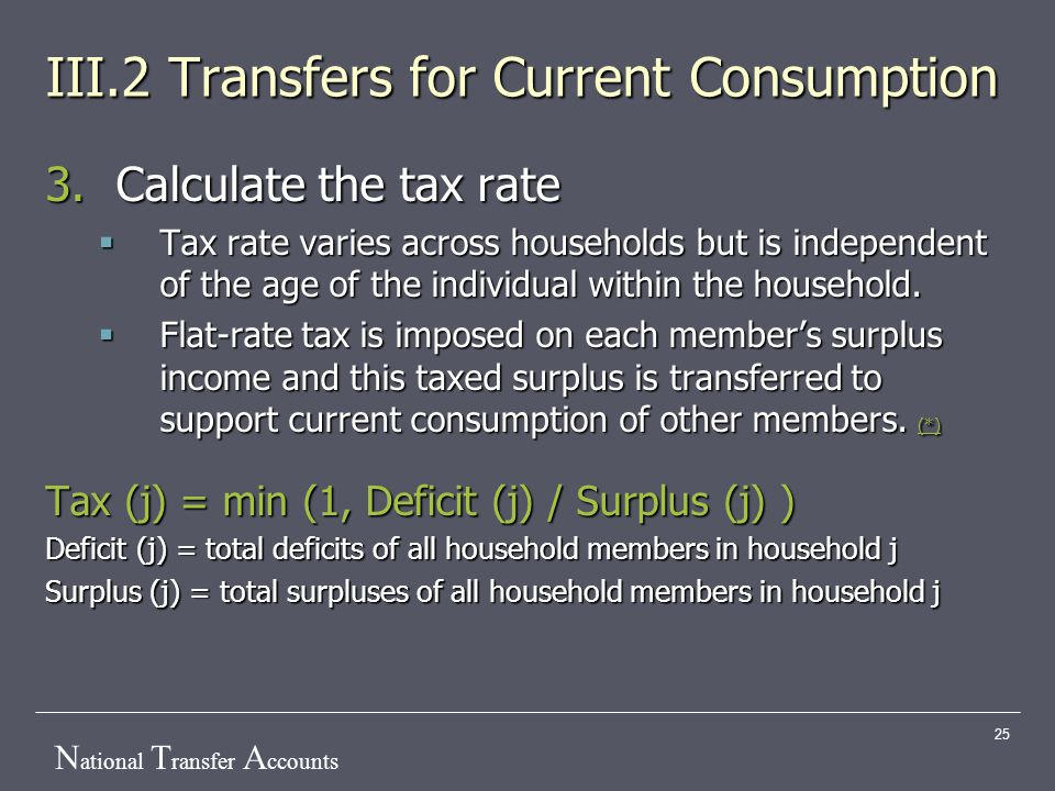 N ational T ransfer A ccounts 25 III.2 Transfers for Current Consumption 3.Calculate the tax rate  Tax rate varies across households but is independe