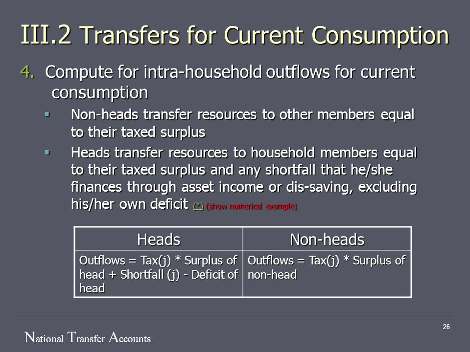 N ational T ransfer A ccounts 26 III.2 Transfers for Current Consumption 4.
