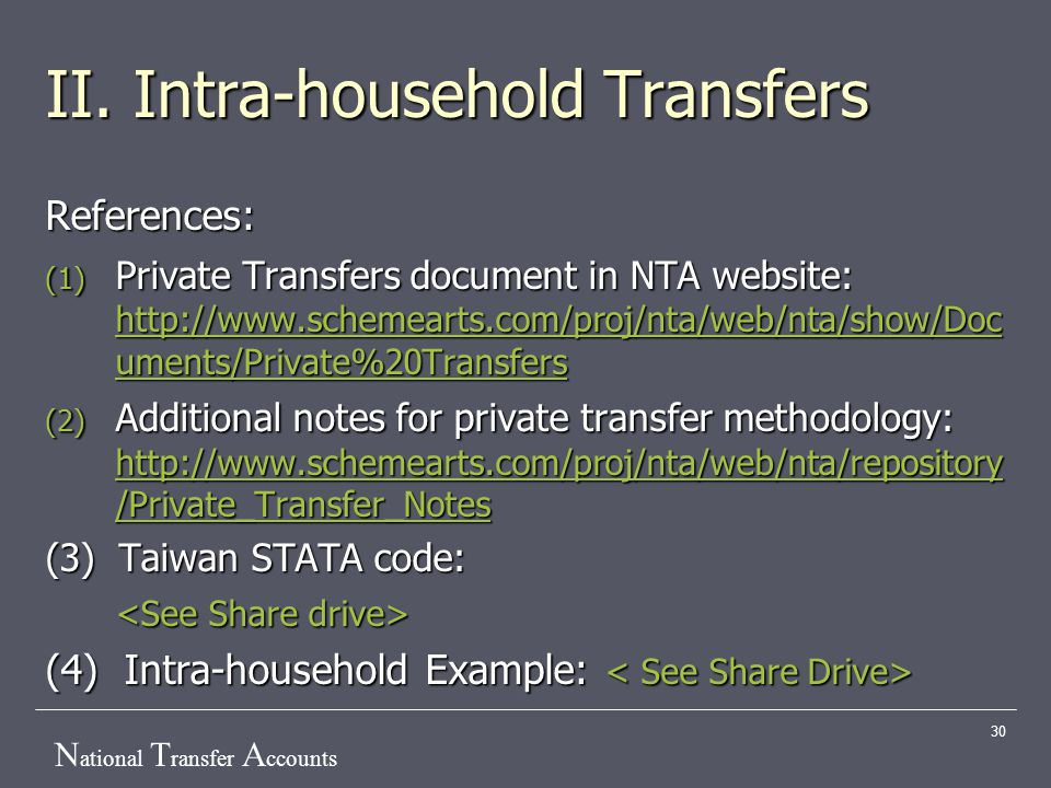 N ational T ransfer A ccounts 30 II. Intra-household Transfers References: (1) Private Transfers document in NTA website: http://www.schemearts.com/pr