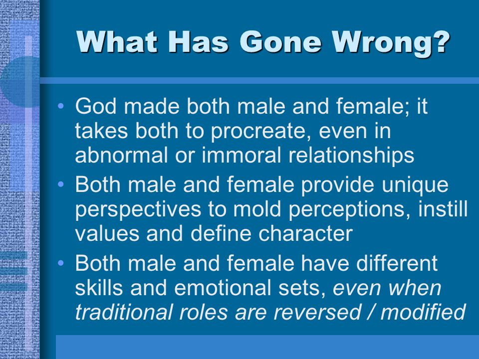 What Has Gone Wrong? God made both male and female; it takes both to procreate, even in abnormal or immoral relationships Both male and female provide