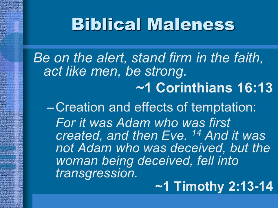 Biblical Maleness Be on the alert, stand firm in the faith, act like men, be strong. ~1 Corinthians 16:13 –Creation and effects of temptation: For it