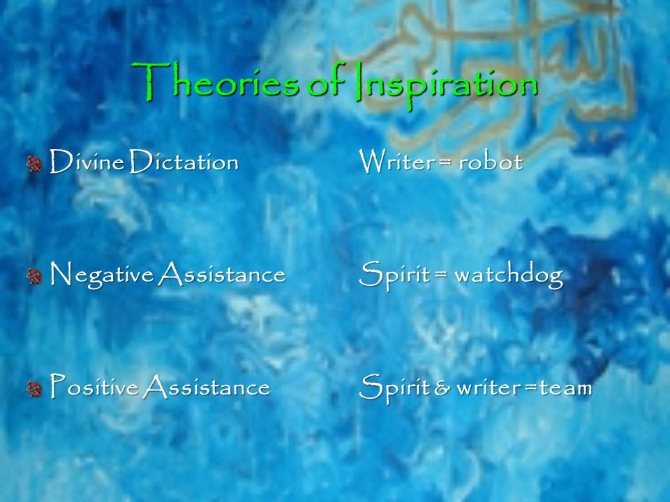 Theories of Inspiration Divine DictationWriter = robot Negative AssistanceSpirit = watchdog Positive AssistanceSpirit & writer =team
