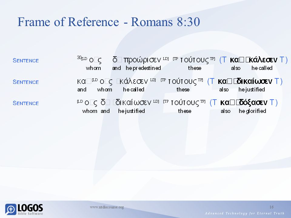 www.ntdiscourse.org16 Frame of Reference - Romans 8:30
