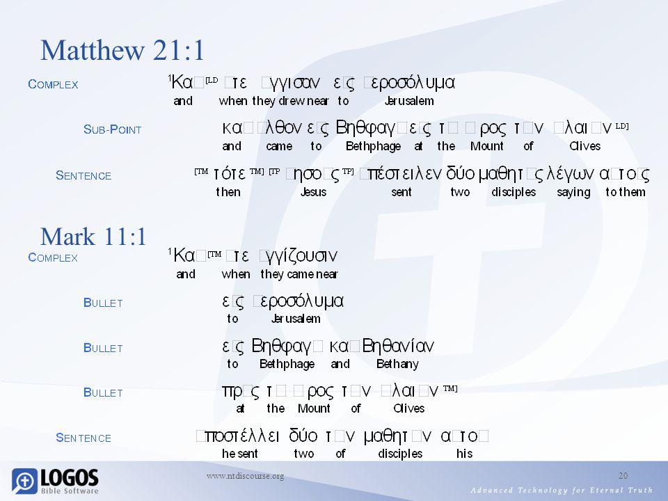 www.ntdiscourse.org20 Matthew 21:1 Mark 11:1