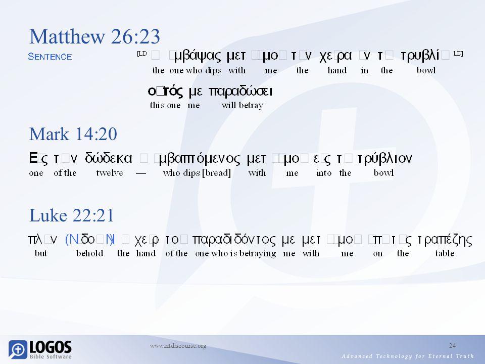 www.ntdiscourse.org24 Matthew 26:23 Mark 14:20 Luke 22:21