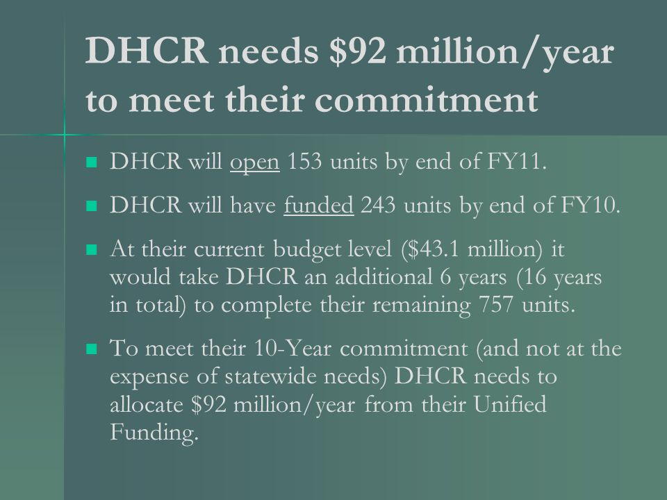 DHCR needs $92 million/year to meet their commitment DHCR will open 153 units by end of FY11.