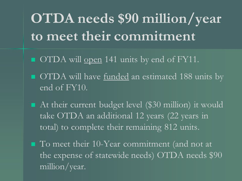 OTDA needs $90 million/year to meet their commitment OTDA will open 141 units by end of FY11.