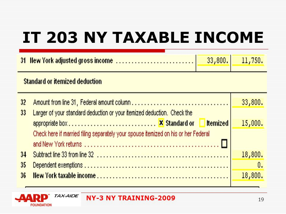 NY-3 NY TRAINING-2009 19 IT 203 NY TAXABLE INCOME