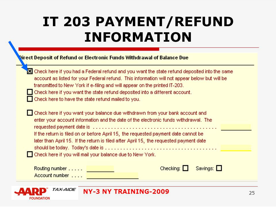 NY-3 NY TRAINING-2009 25 IT 203 PAYMENT/REFUND INFORMATION