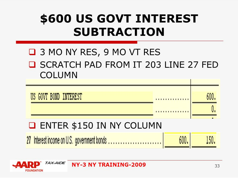 NY-3 NY TRAINING-2009 33 $600 US GOVT INTEREST SUBTRACTION  3 MO NY RES, 9 MO VT RES  SCRATCH PAD FROM IT 203 LINE 27 FED COLUMN  ENTER $150 IN NY COLUMN  FED NY