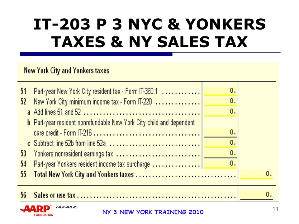 11 NY 3 NEW YORK TRAINING 2010 IT-203 P 3 NYC & YONKERS TAXES & NY SALES TAX