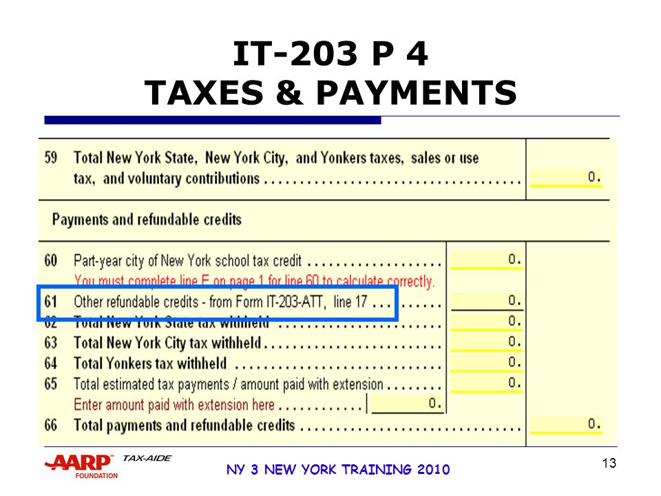 13 NY 3 NEW YORK TRAINING 2010 IT-203 P 4 TAXES & PAYMENTS