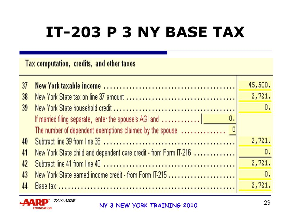 29 NY 3 NEW YORK TRAINING 2010 IT-203 P 3 NY BASE TAX