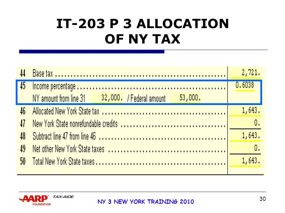 30 NY 3 NEW YORK TRAINING 2010 IT-203 P 3 ALLOCATION OF NY TAX