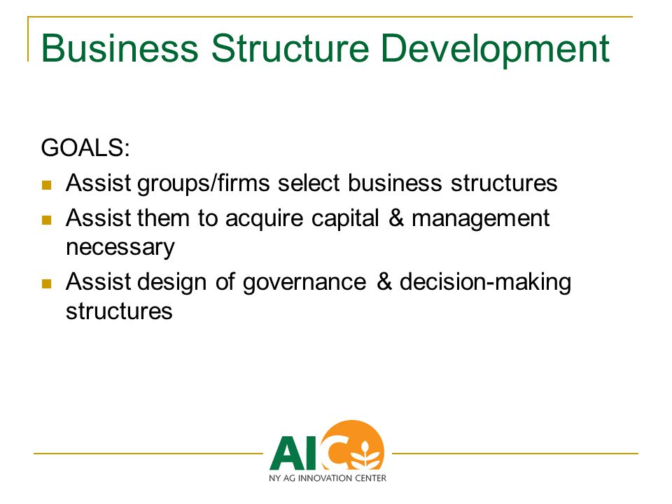 Business Structure Development GOALS: Assist groups/firms select business structures Assist them to acquire capital & management necessary Assist design of governance & decision-making structures