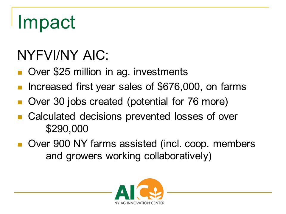 Impact NYFVI/NY AIC: Over $25 million in ag.