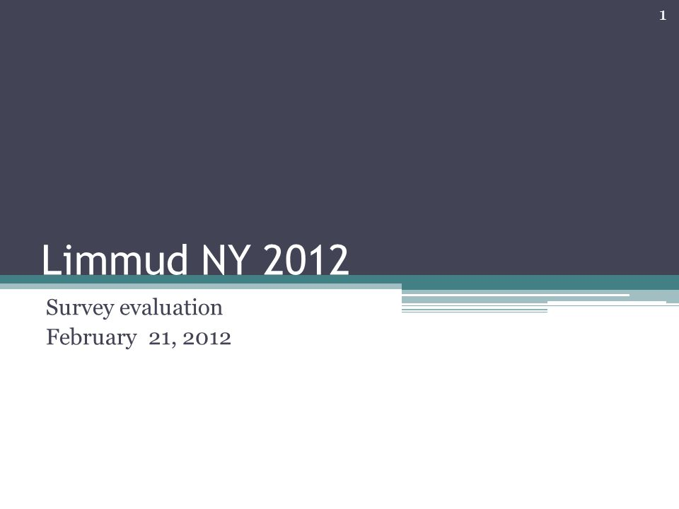 Limmud NY 2012 Survey evaluation February 21, 2012 1