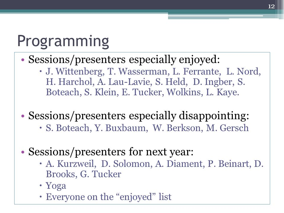 Programming Sessions/presenters especially enjoyed:  J. Wittenberg, T. Wasserman, L. Ferrante, L. Nord, H. Harchol, A. Lau-Lavie, S. Held, D. Ingber,
