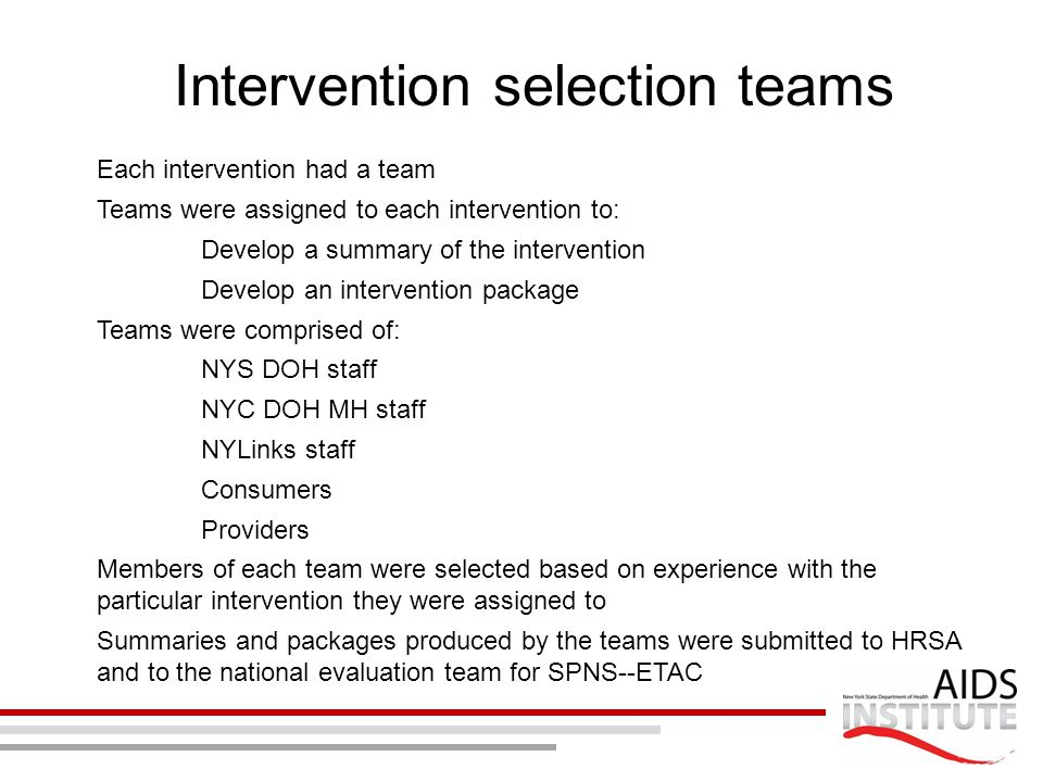 Intervention selection teams Each intervention had a team Teams were assigned to each intervention to: Develop a summary of the intervention Develop a