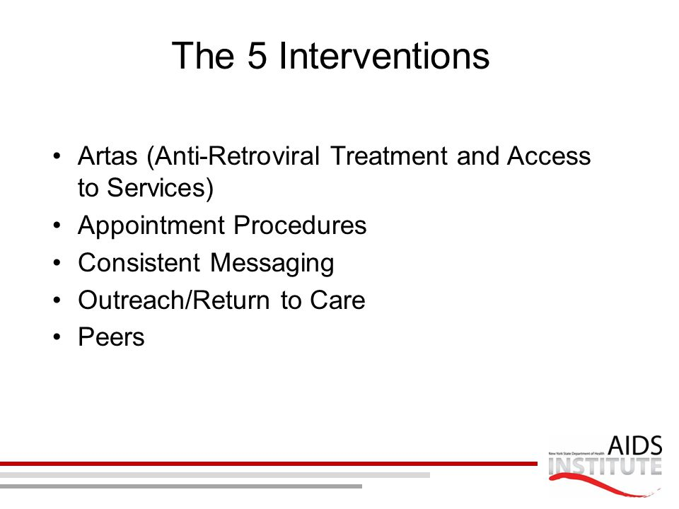 The 5 Interventions Artas (Anti-Retroviral Treatment and Access to Services) Appointment Procedures Consistent Messaging Outreach/Return to Care Peers