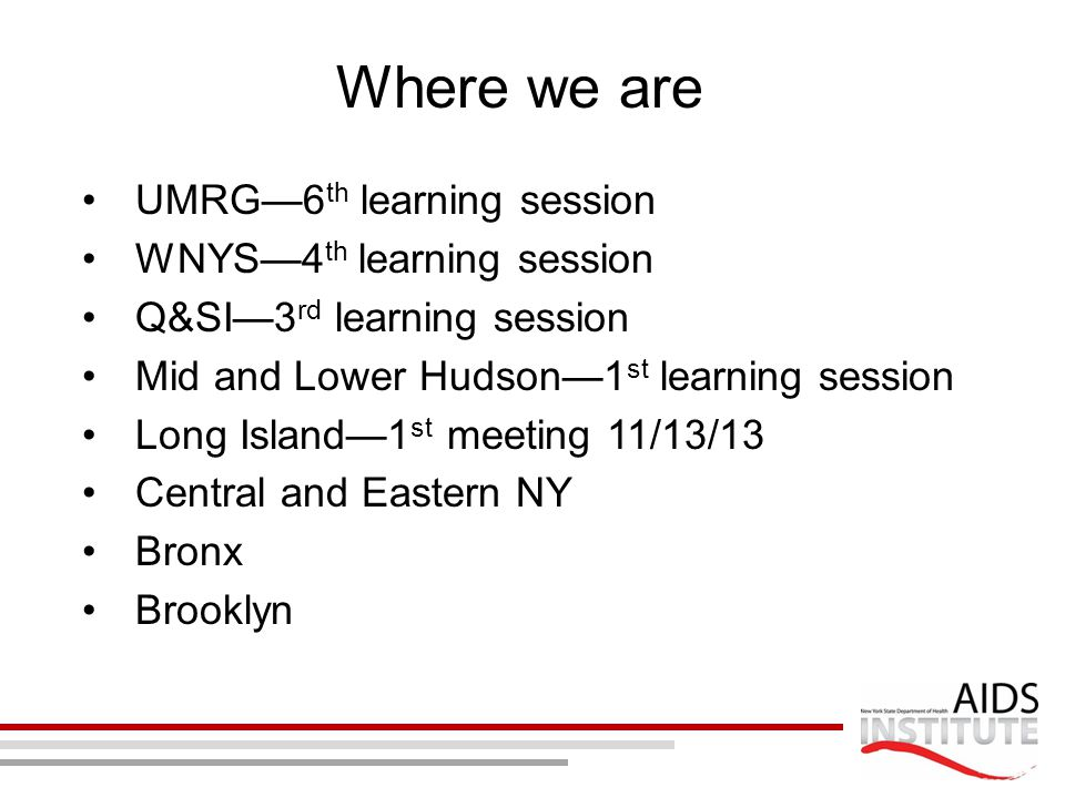Where we are UMRG—6 th learning session WNYS—4 th learning session Q&SI—3 rd learning session Mid and Lower Hudson—1 st learning session Long Island—1